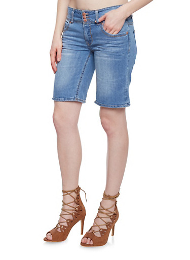 Highway Jeans 3 Button Denim Bermuda Shorts,MEDIUM WASH,large