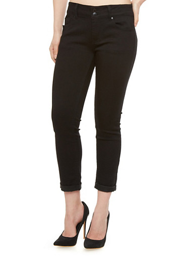 WAX Jeans Skinny Capri with Two Button Closure and Cuffed Hems