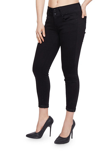 WAX Cropped Denim Skinny Jeans with Rolled Cuffs,BLACK,large