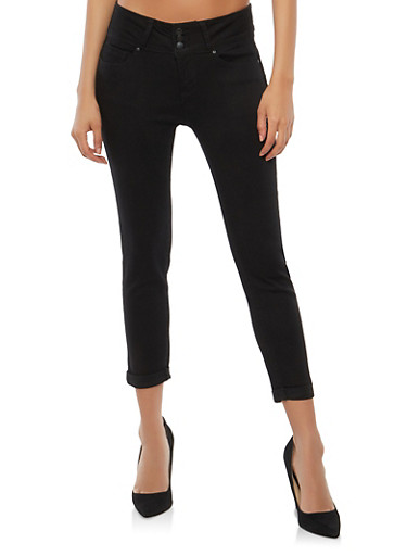 WAX 3 Button Cuffed Capri Push Up Jeans,BLACK,large