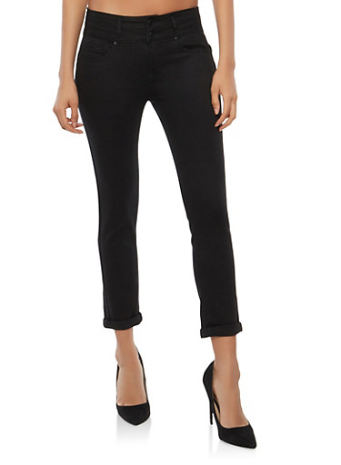 WAX 2 Button Push Up Skinny Jeans,BLACK,large