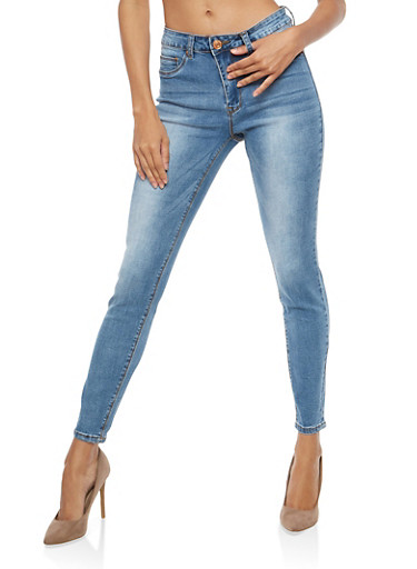 Almost Famous High Waisted Skinny Jeans,LIGHT WASH,large