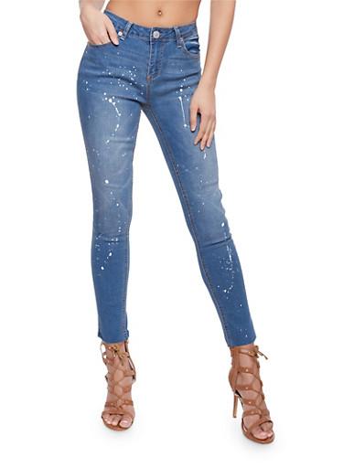 Almost Famous Paint Splattered Denim Skinny Jeans,MEDIUM WASH,large