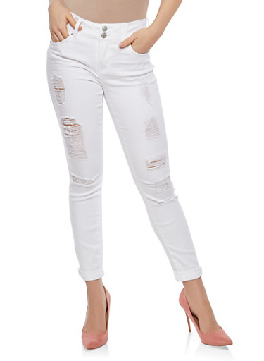 Almost Famous 2 Button Destroyed Skinny Jeans,WHITE,large