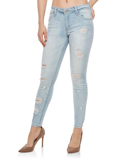 Almost Famous Distressed Jeans,LIGHT WASH,large