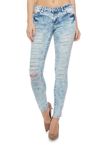 Almost Famous Slashed Acid Wash Skinny Jeans,LIGHT WASH,large