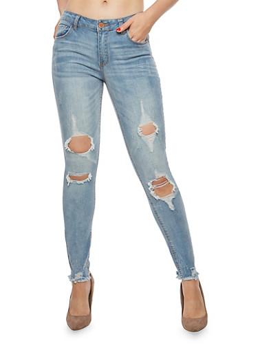 Almost Famous Distressed Raw Hem Skinny Jeans,MEDIUM WASH,large
