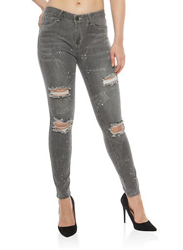 Almost Famous Paint Splatter Skinny Jeans,GRAY,large