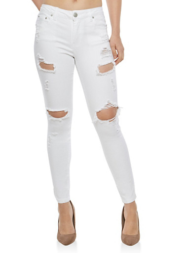 Almost Famous White Destruction Skinny Jeans,WHITE,large