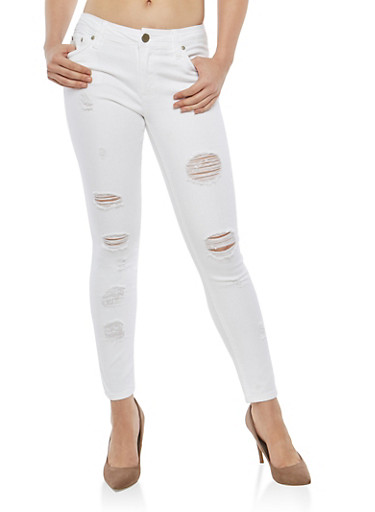 Almost Famous White Distressed Jeans,WHITE,large