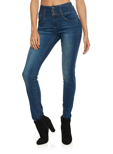 VIP High Waisted Skinny Jeans,MEDIUM WASH,large