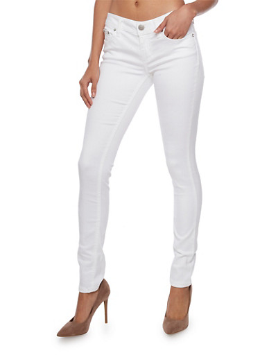 Almost Famous Solid Skinny Jeans with Stitched Back Pockets,WHITE,large
