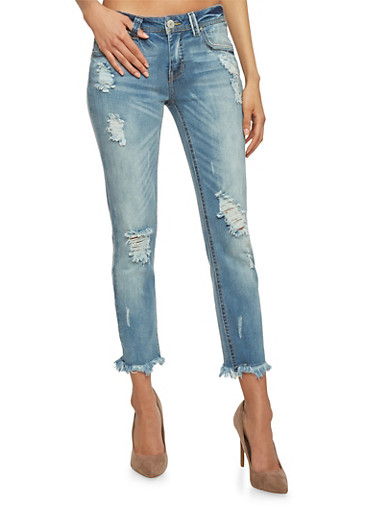 Almost Famous Distressed Cropped Skinny Jeans with Frayed Cuff,MEDIUM WASH,large