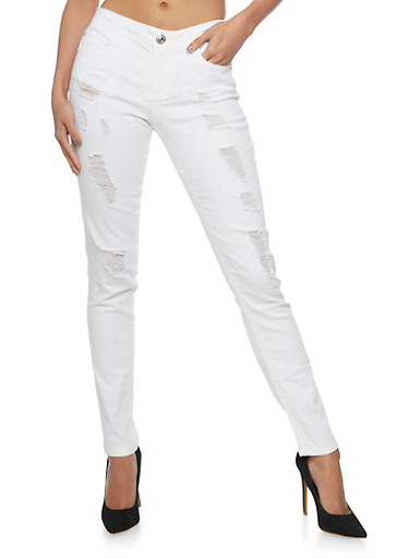 Almost Famous Destroyed White Skinny Jeans - Rainbow