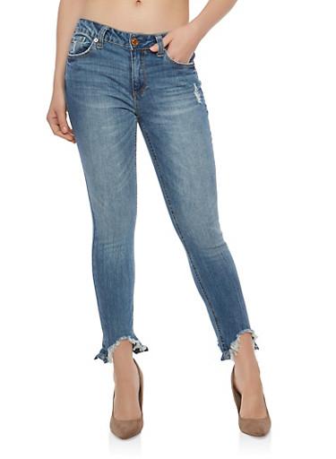Almost Famous Raw Hem Skinny Jeans,MEDIUM WASH,large