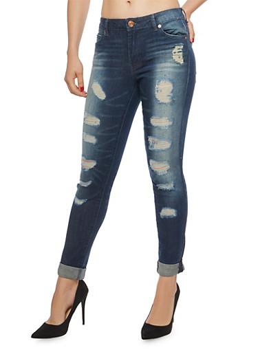 Rolled Cuff Destruction Skinny Jeans,DARK WASH,large