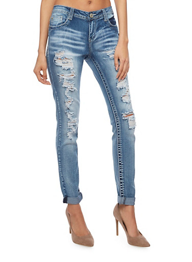 Almost Famous Destroyed Cuffed Denim Skinny Jeans,MEDIUM WASH,large