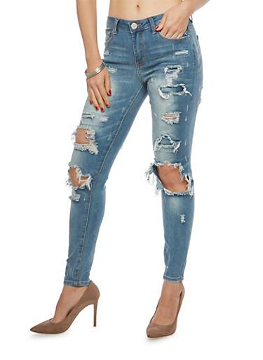 Almost Famous Destroyed Whisker Wash Skinny Jeans,MEDIUM WASH,large