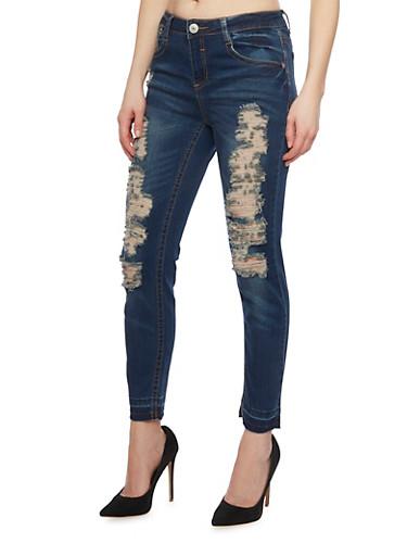 Almost Famous Destryoed Denim Jeans,DARK WASH,large