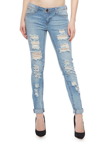 Almost Famous Low Rise Destroyed Cuffed Denim Jeans,LIGHT WASH,large