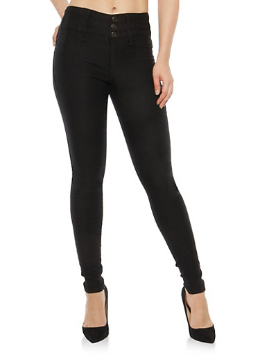 Almost Famous 3 Button Black Skinny Jeans,BLACK,large
