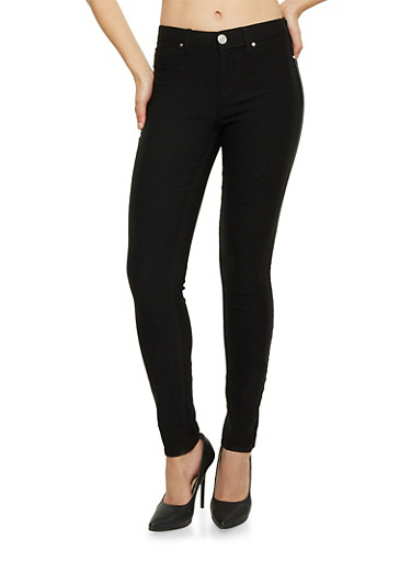 Fleece Lined Jeggings,BLACK,large