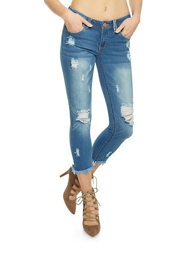 Almost Famous Distressed Cropped Jeans,MEDIUM WASH,large