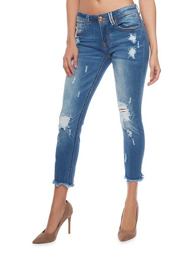 Almost Famous Distressed Cropped Jeans,DARK WASH,large