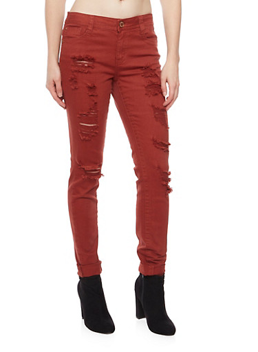 Almost Famous Ripped Skinny Jeans,RUST,large