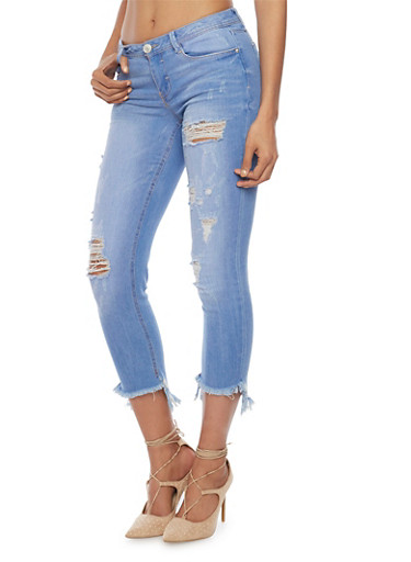 Almost Famous Ripped Crop Skinny Jeans with Frayed Cuffs,BLUE,large