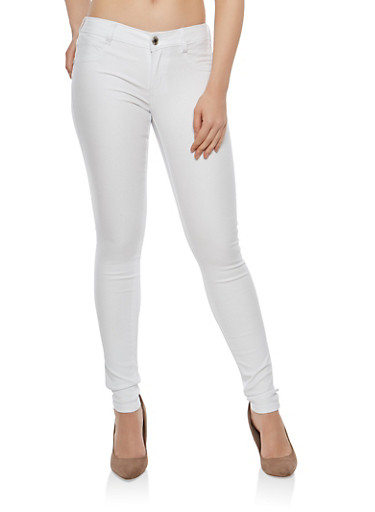 Almost Famous Colored Skinny Jeans,WHITE,large