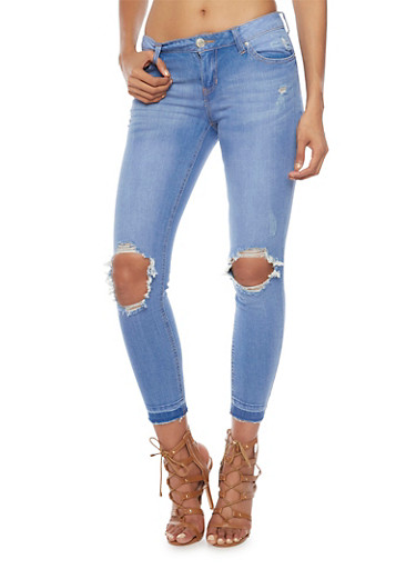 Almost Famous Skinny Jeans with Released Hem,BLUE,large