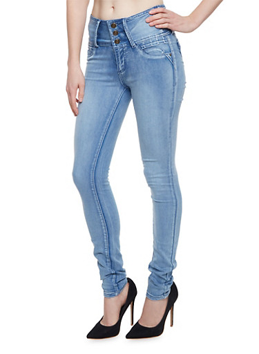 High Waisted Skinny Jeans with Push Up Back Pockets,LIGHT WASH,large