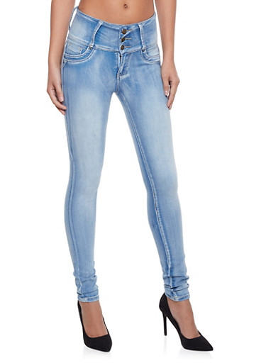 Skinny Jeans with Light Distressing,LIGHT WASH,large
