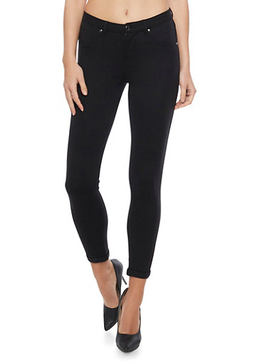 Ponte Skinny Leg Cuffed Jeggings,BLACK,large