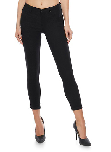 Cropped Fixed Cuff Jeggings,BLACK,large