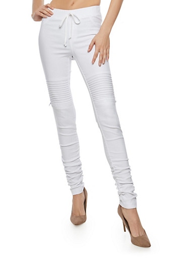 Ruched Leg Motto Joggers,WHITE,large