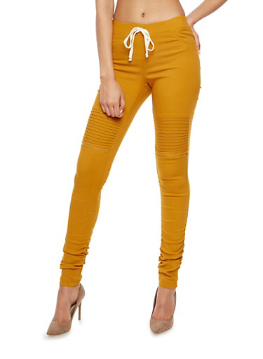Ruched Leg Motto Joggers,MUSTARD BUCKTHORN,large