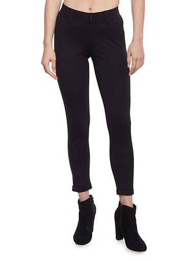 Cropped Cuffed One Button Jeggings,BLACK,large