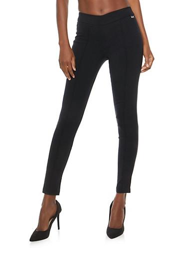 Pintuck Skinny Dress Pants,BLACK,large