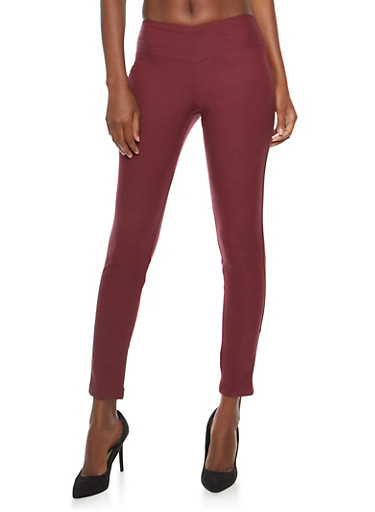 Side Seam Solid Push Up Jeggings,BURGUNDY,large
