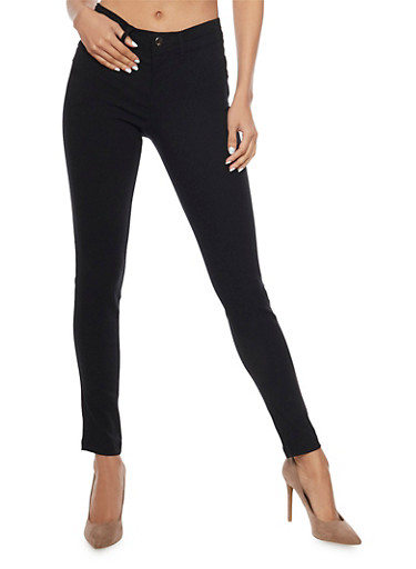 Push Up Jeggings with Two Pockets,BLACK,large