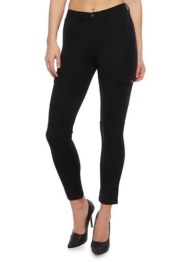 Skinny Cargo Pants in Stretch Knit,BLACK,large