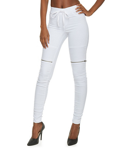 Faux Zipper Moto Pants with Drawstring Waist,WHITE,large
