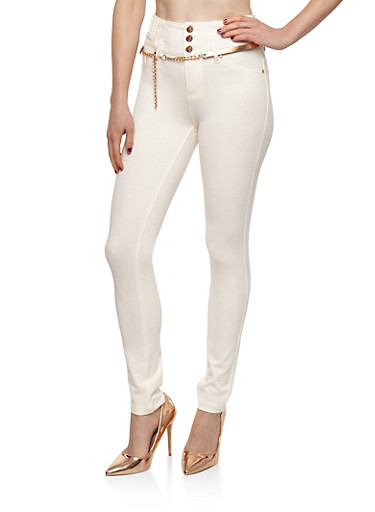 High Waisted Ponte Jeggings with Belt,OFF WHITE,large