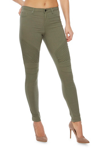 Skinny Pants with Moto Stitched Paneling,OLIVE,large