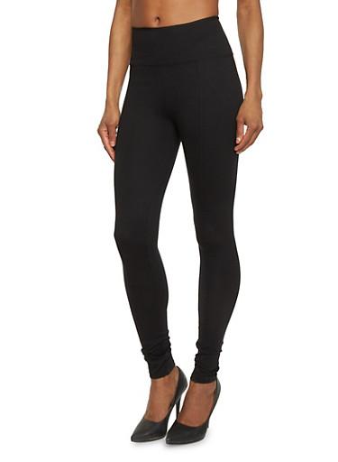 Tummy Tuck Stretch Ponte Knit Leggings,BLACK,large