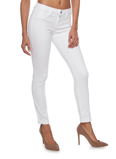 Cello Dyed Skinny Jeans with Five Pocket Style,WHITE,large