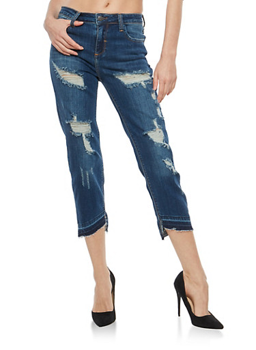 Cello Distressed Frayed Hem Jeans,MEDIUM WASH,large