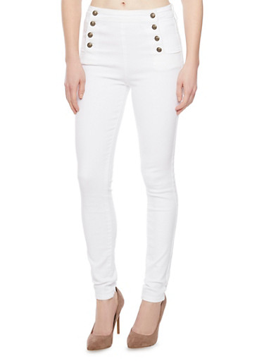Cello White Sailor Skinny Jeans,WHITE,large